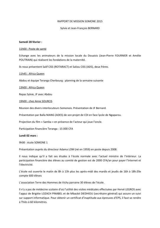 RAPPORT DE MISSION SOMONE 2015